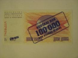 BOSNIE - Novgari Bon - 100 000 Dinars Surimprimé Sur Billet 10D - 1.IX.1993 - UNC - Neuf - - Bosnia Y Herzegovina