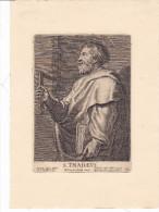 SANTINO SAN TADDEO APOSTOLO INCISIONE  CM.9,5X13   DIMENSIONI FOGLIO CM.19,5X14-2-  0882-21678 - Devotion Images