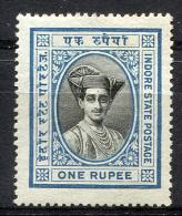 HOLKAR (Indore) 1928 Perf.14 - Yv.24 (Mi.22, Sc.28) MH (perfect) Rare - Holkar
