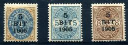 DANISH WEST INDIES 1905 - Yv.24-26 (Mi.38-40, Sc.40-42) MH (perfect) VF - Denmark (West Indies)
