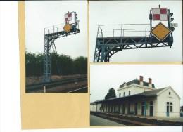3 PHOTOS - ST AMAND MONTROND - La Gare Et Carré Avertiss. Couplé Sur Potence - Chemin De Fer