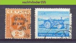 MR712 ** BIJZONDER ** SPECIAL ** WAR STAMP CEYLON AND WRONGLY PERFED TRACTOR STAMP QWP Gebr/used  VANAF1EURO - Postzegels