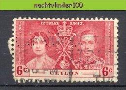 MR873 ** BIJZONDER ** SPECIAL ** PERFED STAMP CEYLON ROYALTY 1937 Gebr/used  VANAF1EURO - Sri Lanka (Ceylon) (1948-...)