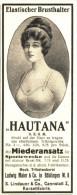 Original-Werbung/ Anzeige 1915 - ELASTISCHER BRUSTHALTER HAUTANA / MAIER BÖBLINGEN/ LINDAUER CANNSTATT  Ca. 45 X 115 Mm - Werbung