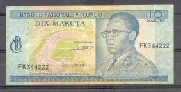 Congo Ex Belgian Congo  Kongo 10 Makuta 1970  XF - République Démocratique Du Congo & Zaïre
