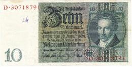 Reichsbanknote - 10 Reichsmark - 22 Janvier 1929 (N° D.30718791) (Recto-Verso) - [ 3] 1918-1933 : Weimar Republic
