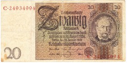 Reichsbanknote - 20 Reichsmark - 22 Janvier 1929 (N° C.24934994) (Recto-Verso) - [ 3] 1918-1933 : République De Weimar