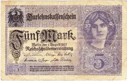 Reichsschuldenverwaltung - 5 Mark - 2 Août 1917 - (N° U.16952208) (Recto-Verso) - 5 Mark
