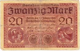 Reichsschuldenverwaltung - 20 Mark - 20 Février 1918 - (N° W.3337048) (Recto-Verso) - [ 2] 1871-1918 : Empire Allemand
