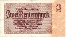 Rentenbankschein - 2 Rentenmark - 30 Janvier 1937 (N° C.73717975) (Recto-Verso) - [ 4] 1933-1945: Derde Rijk