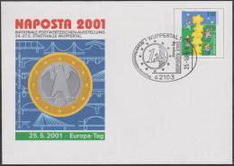 Allemagne 2001. Privatganzsache, Entier Postal Timbré Sur Commande. Europa 2000, Pièce De 1 € - Europa-CEPT