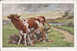 Carte Postale Fantaisie Dessin- Arthur THIELE Deckung Gegen Feindliche Flieger- Militaire Allemand-Vache-Stempel 87 Reg - Thiele, Arthur