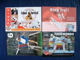 4 Postcards On Sports Boxing Jujitsu Taekwondo Sword Fencing Kid - Italia Australia USA Germany - Boxing
