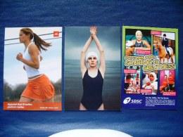 3 Postcards On Women Sport - Running Swimming Horse Riding - Japan Australia Singapore - Swimming