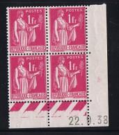 Paix  1 Fr Rose  Yv 369  Du 22.9.38   Charnière Dans La Marge Latérale - Coins Datés