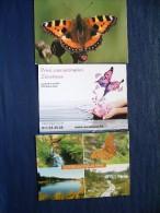 4 Postcards On Butterflies - Latvija Sauna Belgium - Butterflies