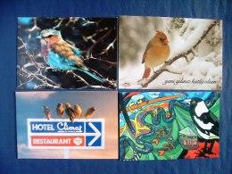 4 Postcards On Birds - Hotel Sign - Snow - South Africa - Australia - Turkey - France - Birds