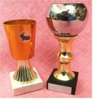 2 X Pokal Kaninchen-Zucht-Verein  -  Ca. 15 Cm Und 18 Cm Länge  -  Von 1981 - Vereinswesen