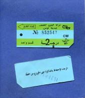 VP - Ticket De Tramway De Tunis - Tunisie - Série CW - Présenté Recto Verso - Tramways