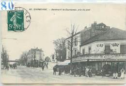 92 CPA COURBEVOIE TABAC RESTAURANT VINS & HOTEL RESTAURANT VINS LIQUEURS&BOULEVARD DE COURBEVOIE PRISE DU PONT  N°62 - Courbevoie