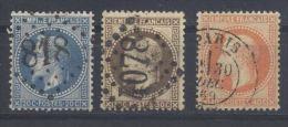 Frankreich, ° (gest., Obl., Used);1862/1870, Napoleon III,(Laure), YT: 29Ba, 30b, 31b / Michel 28b, 29b, 30b - 1863-1870 Napoléon III. Laure