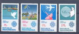 Mgm1148 JAAR VAN DE TELECOMMUNICATIE VOGEL SHIP BIRD SATELLITE PLANE WORLD TELECOMMUNICATION YEAR INDONESIA 1983 PF/MNH - Telecom
