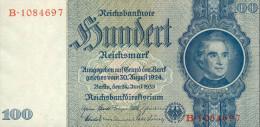 Deutschland, Germany - 1 X 100 Reichsmark, Ro. 176 C , UNC ( Serie B ) 1936 - 1948, Kassenfrisch - Rare - Selten ! ! ! - 100 Reichsmark