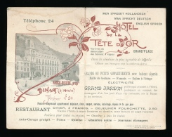 DINANT - RECLAME KAART - HOTEL DE LA TETE D'OR - !!!!! KAART IS DUBBEL GEVOUWEN     ** 2 SCANS