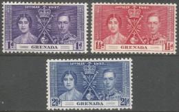 Grenada. 1937 KGVI Coronation. MH Complete Set. SG149-51 - Grenada (...-1974)