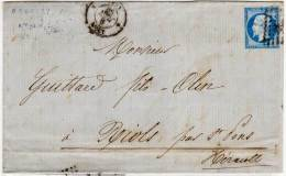 LYON  (LAC) Adressée A RIOL Pae SAINT PONS (Hérault) PC  Yvert 14  Cachet SAINT PONS  (71970) - 1853-1860 Napoleon III