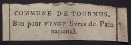 Bourgogne Saône-et-Loire Tournus Révolution Française 1792 BON POUR 20 LIVRES DE PAIN NATIONAL - Très Rare - Bons & Nécessité