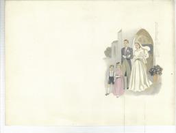 Lito Sur Papier Carton   Ou Fair Part De Mariage Année 1950 Format  21x15 Cm - Ante 1900
