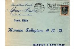 1927 Annullo Meccanico A Targhetta Di Monza Centro  Le Più Belle Terme Del Mondo SALSOMAGGIORE Su Busta - 1900-44 Victor Emmanuel III