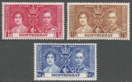 Montserrat. 1937 KGVI Coronation. MH Complete Set. SG 98-100 - Montserrat