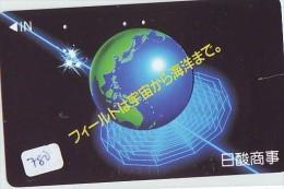 Télécarte Japon * MAP Cate Du Monde * GLOBE (780) SPACE * Mappemonde * Japan Phonecard * Telefonkarte * GLOBUS - Espacio