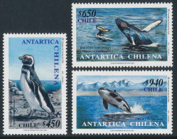CHILE 2000 ANTARTICA CHILENA - Antarctic Penguins And Whales Set Of 3v** - Antarctic Wildlife