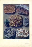MINERAUX DIVERS  -  PLANCHE VIII - Old Paper