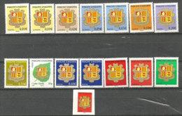 ANDORRE.nouvelle Série Des Armoiries D´Andorre. 15 T-p Neufs **, Inclus Adhesif. Different Imprimeurs:ITVF & Phil@poste - Andorra Francese