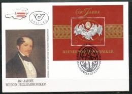 Österreich-  FDC    MI.Nr.     2054  Block 11    150 Jahre Wiener Philharmoniker. - FDC
