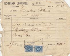 RECEIPT FROM THE LOCAL TREASURY, 2 STAMPS, 1922, ITALY - Italie
