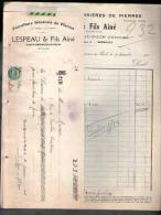 Facture + Lettre De Change Fourniture De Pierres Lespeau Saint Germain Du Puch 31-12-1932 - Tp Fiscal 1 F - 1900 – 1949
