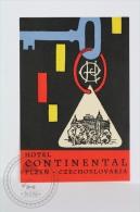 Hotel Continental, Plzen - Czechoslovakia - Original Hotel Luggage Label - Sticker - Etiketten Van Hotels
