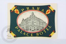 Palace Hotel Praha - Czechoslovakia - Original Hotel Luggage Label - Sticker - Hotel Labels