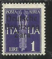 ZARA OCCUPAZIONE TEDESCA 1943 ITALY OVERPRINTED  SOPRASTAMPATO ITALIA POSTA AEREA AIRMAIL LIRE 1 MH - German Occ.: Zara