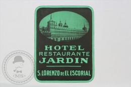 Hotel Restaurante Jardin, San Lorenzo De El Escorial - Spain - Original Small Hotel Luggage Label - Sticker - Hotel Labels