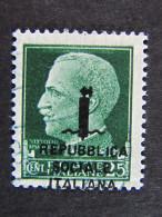 """ITALIA Repubblica Sociale -1944-""""Imperiale Sopr."""" C. 25 Varietà US° (descrizione) - Gebraucht"""