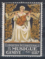 Vignette: Exposition Internationale De La Musique Genève (Suisse) - Mai 1927 - Musicienne - Violon - Partition Ancienne - Künste