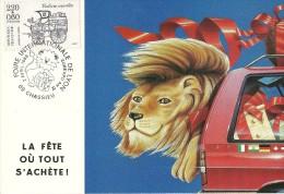 FOIRE INTERNATIONALE DE LYON  1988 AVEC TP ET CACHET CARTE MAXIMUM  LION AUTOMOBILE  LA FETE OU TOUT S'ACHETE - Manifestazioni
