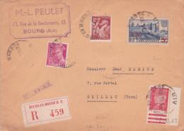 5/1/1942 1er JOUR Du Tarif à 5f Lettre 2è échelon RECOMMANDÉE - RARE !! PETAIN MERCURE IRIS CARCASSONNE - Marcophilie (Lettres)