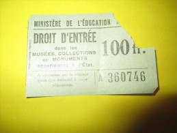 Ministére De L´Education Nationale/ Ticket D´entrée / Musées, Collections Et Monuments  / De L´Etat /Vers 1950     VP665 - Non Classés